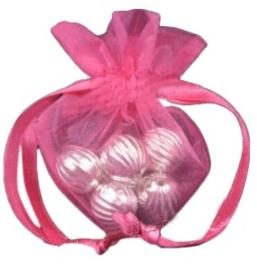 20 stuks luxe hartvormige organza zakjes 10cm x 8.75cm Hot Pink