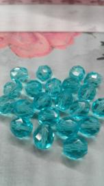 20 x facet turquoise 8mm Gat: 1mm