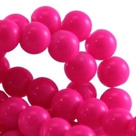 15 stuks Keramische Glaskralen 8mm  Fuchsia pink