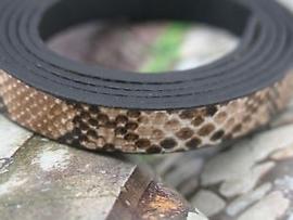 1 meter echt lederen snakeskin coffee camouflage 10 x 2mm