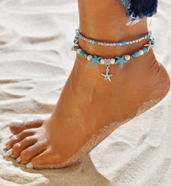 Armband/enkelbandje met zeester 21-26cm met Turquoise howlite