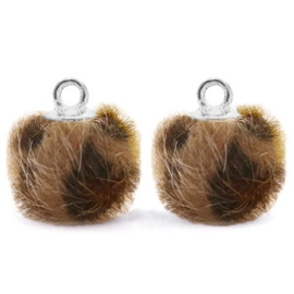 2 x Pompom bedels met oog faux fur leopard 12mm Chocolate brown-silver