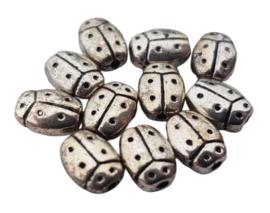 5x Tibetaans zilveren kraal van een lieveheersbeestje 7,4 mm x 5,4 mm rijggat: 1 mm