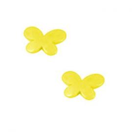 10 x Kinderkralen Acryl Vlinder Geel c.a 17 mm