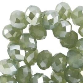 15 x Top facet kralen 6x4mm disc Khaki green opal