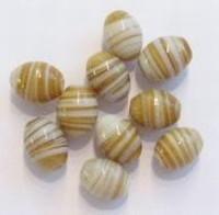 10 stuks glaskraal India ovaal beige/wit gestreept 11 mm