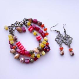 Boheemse armband met oorbellen ♥
