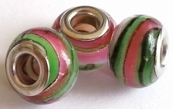 Per stuk Glaskraal European-style roze/groen gestreept 14 mm