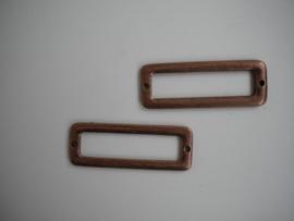 2x Metalen tussenzetsel rood koper kleur 45mm per stuk