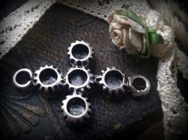 Per stuk metalen antiek zilveren tussenzetsel zonder steentjes 33 x 21 mm