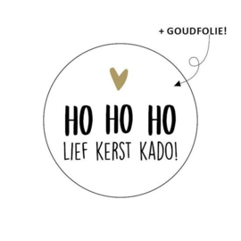 10 stuks Wensetiket rond 40mm - ho ho ho lief kerst kado!