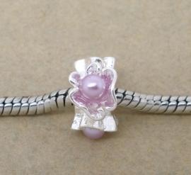 Prachtige European Jewelry bedels, tibetaans zilver met parels lila 13mm x 7mm