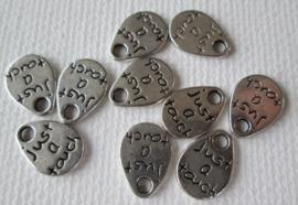 10 stuks tibetaans zilveren bedeltjes just a touch 11 x 8 x 1mm gat: 1mm