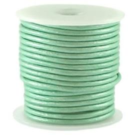 50 cm DQ Leer rond 2 mm Turquoise groen metallic