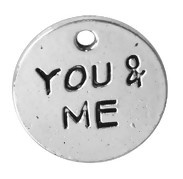 "5 x  Bedeltje ""You & me"" 16 x 1,6 mm Tibetaans Zilver"