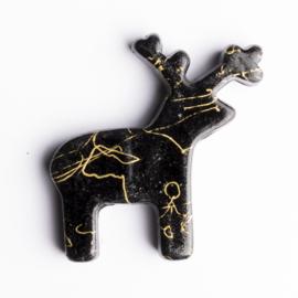5 x luxe acryl kraal rendier  41 x 40 x 6mm kleur: zwart met goudkleurig gat: 3mm