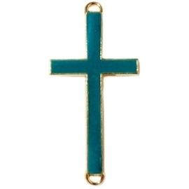 2 x Bedel goud 2 ogen kruis  medium Donker blauw groen  ca. 37 x 17mm