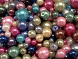 100 gram gemengde glasparels, verschillende kleuren en maten glasparelmix
