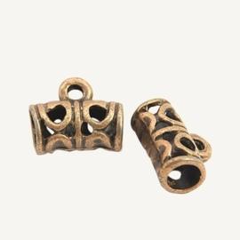 5 x Tibetaans zilveren tonnetje bails 11,5 x 9 x 5,5mm, oogje: 2mm rood koper kleur