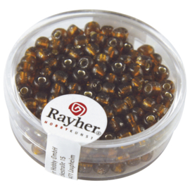 Rayher Rocailles Transparant 17 gram 2 mm Bruin zilverinslag
