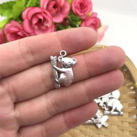4 x Tibetaans zilveren Koala beertje 20 x 14 mm