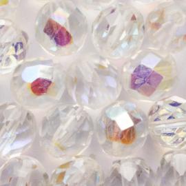 10 x ronde kraal Tsjechië kristal Facet 14 mm Kleur: transparant Gat: c.a. 1mm