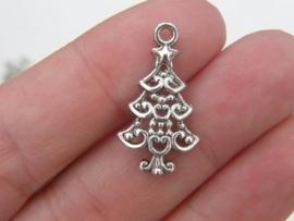 6 x Tibetaans zilveren kerstboom 24 x 13,5 x 2mm oogje: 2mm