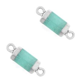 1 x  Natuursteen hangers tussenstuk hexagon Icy turquoise blue-silver