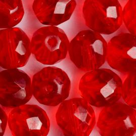 10 x ronde Tsjechië kraal kristal facet 10mm kleur: rood gat: 1mm