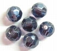 10 x Glaskraal facet kristal Tanzanite met mooie glans 8 mm