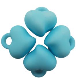 5 x Acryl bedel hart baby blauw 15 x 15 x 10mm; gat 3mm