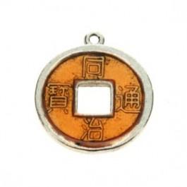 2 x Chinese geluksmunt emaille 20 x 23mm oogje: 1,5mm oranje