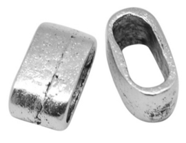 10 x Gesloten tussen zetsel ring, ovaal, schuiver  mooi om twee koorden bijelkaar te houden 13x7x7mm gat: 5mm keuze uit antiek zilver of antiek goud