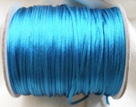 1 meter satijnkoord  van ca. 2 mm dik,  turquoise