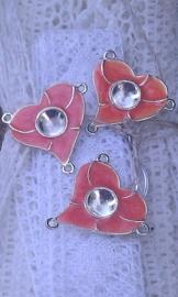 Per stuk zilveren metalen tussenzetsel hart met oranje epoxy 26 mm