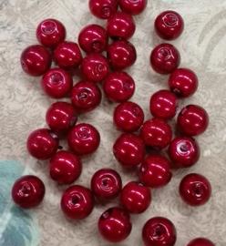 80x prachtige glasparels 6mm Gat: 1mm bordeaux rood