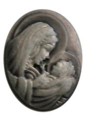 2 x Prachtige Camée van Resin bronskleur moeder met baby 36 x 28mm