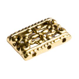 6x Tibetaans zilveren tussenstuk geschikt voor 3 draden 11mm x 17mm gat 1mm goudkleur