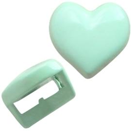2 x Chill metalen schuiver hart pastel turquoise groen c.a. 5mm