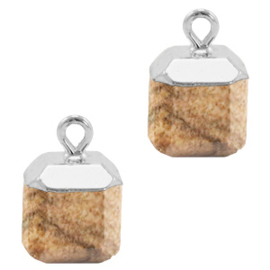 1 x Natuursteen hangers square Porcini brown-silver picture stone