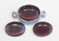 10 x Plaksteen glas cate-eye ovaal donker amethyst 10 x 14 mm