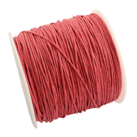10 meter Waxkoord 1.0 mm Cherry Pink