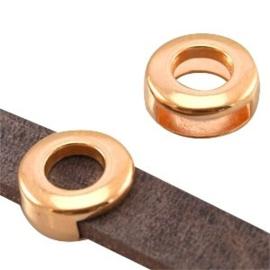1 x DQ metaal schuiver rond (DQ leer plat 10mm) Rosé goud