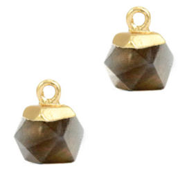 1 x Natuursteen hangers hexagon Black diamond-gold Rook Kwarts