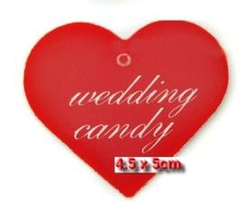 c.a. 50 stuks Labels met ponsgat zonder touwtje hart model : Wedding Candy c.a. 45mm x 50mm