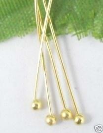 100 stuks Nietstiften 30mm met bolletje goudkleur