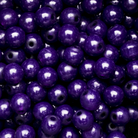 15 stuks  glaskralen opaal purple 8mm