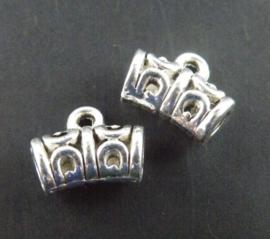 10 x Tibetaans zilveren hanger bails 11 x 9 x 5,5mm oogje: 2mm  zilver kleur