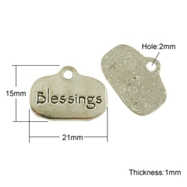 10x Tibetaans zilveren bedel blessings 15 x 21 x 1mm oogje: 2mm