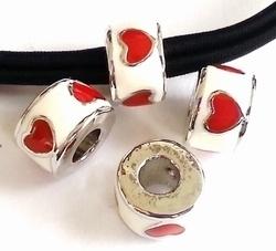 Per stuk European Jewelry kraal rond wit met rode hartjes antiek zilver 11 mm
